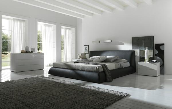 Interior-Design-ein-stilvolles-Schlafzimmer-gestalten-schöne-Beispiele-Weiß-Grau