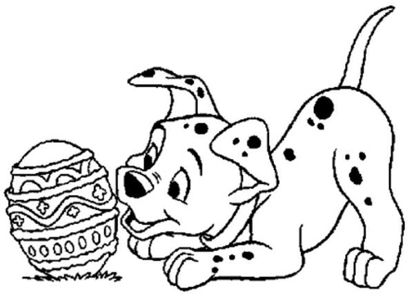 ausmalbilder-ostern-ei-und-ein-hund