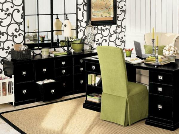 büroraum-gestalten-coole-ausstattung-mit-einem-grünen-stuhl