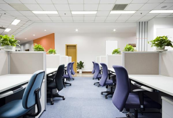 interessanter büroraum mit lila stühlen