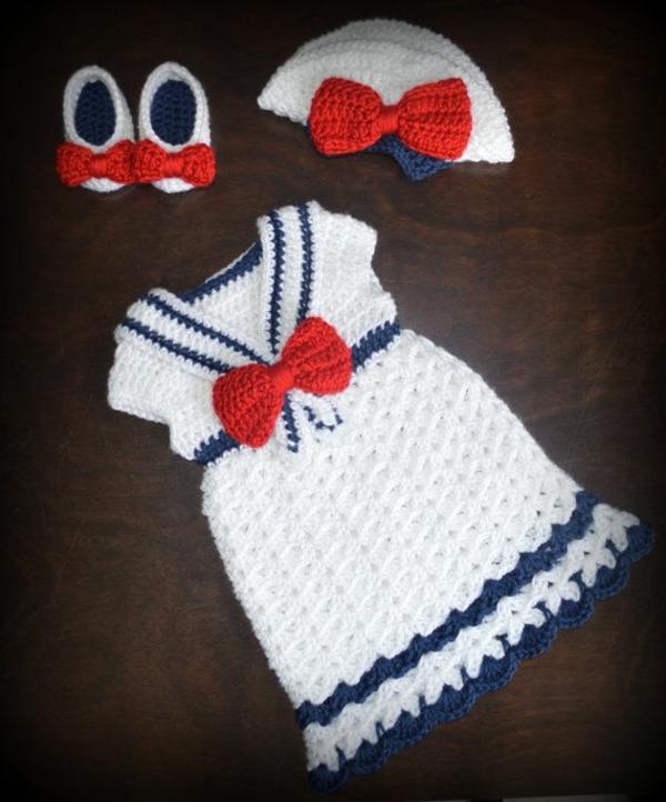 babykleider-babymütze-häkeln-babyschuhe-weiß-rot