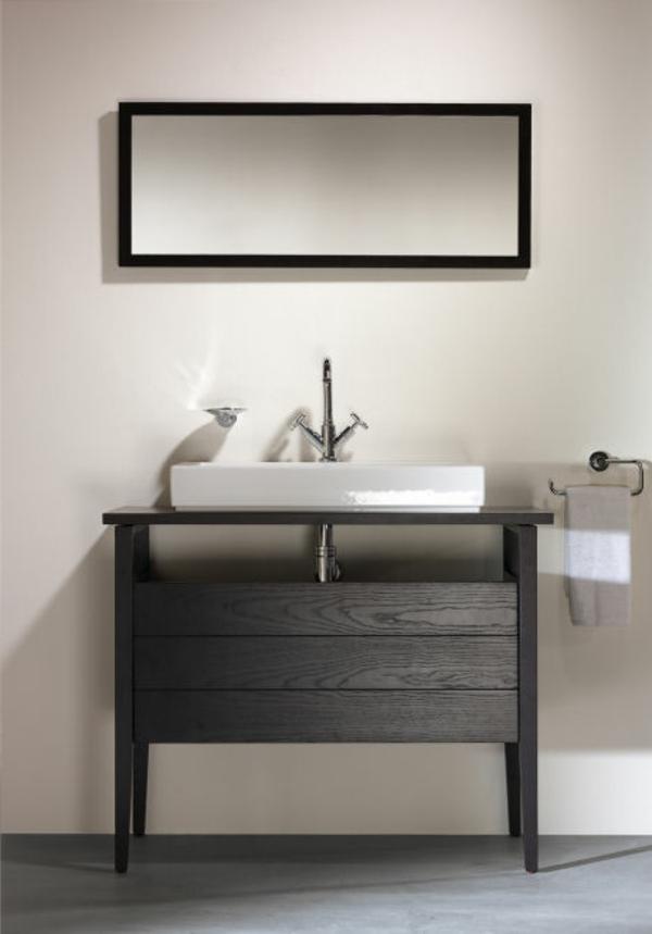 badezimmer-hölzerne-möbel-graue-farbschemen