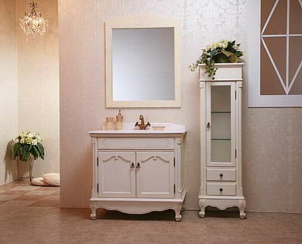 badezimmer-hölzerne-möbel-weißer-schrank-mit-spiegel