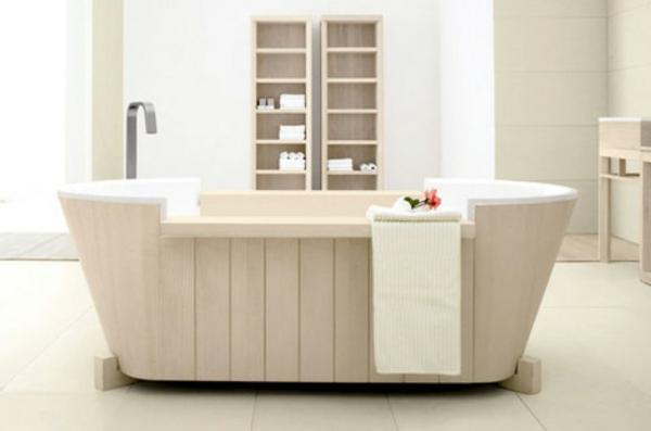 badmöbel-aus-holz-weiße-schöne-badewanne