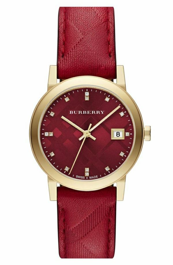 elegante-armbanduhr-damen-uhren-kaufen-leder-in-rot-