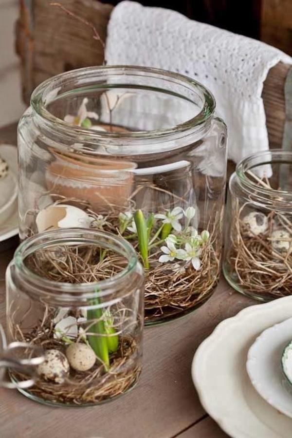 tischdeko für wohnzimmer:kreative-tischdeko-zum-frühling-ideen-für-ostern-tischdekoration