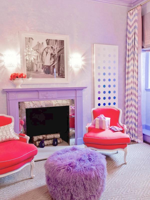 cooles bild wohnzimmer:schicker kamin in orchidee farbe – im wohnzimmer