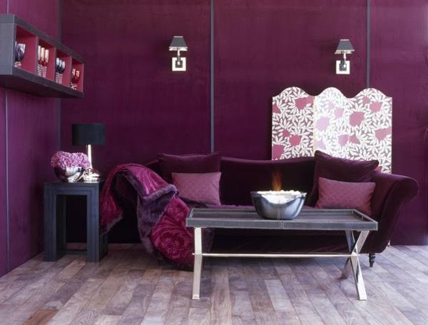 Wohnzimmer Farbe Grau Lila : 40 herrliche Zimmerdesigns in Orchidee ...
