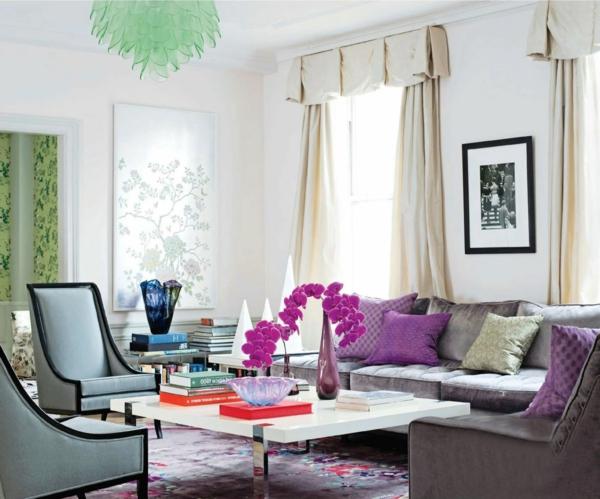 Orchidee Farbe Wohnzimmer Weisse Gardinen