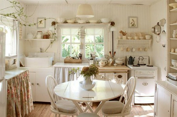shabby-chic-einrichtung-gemütliche-weiße-küche