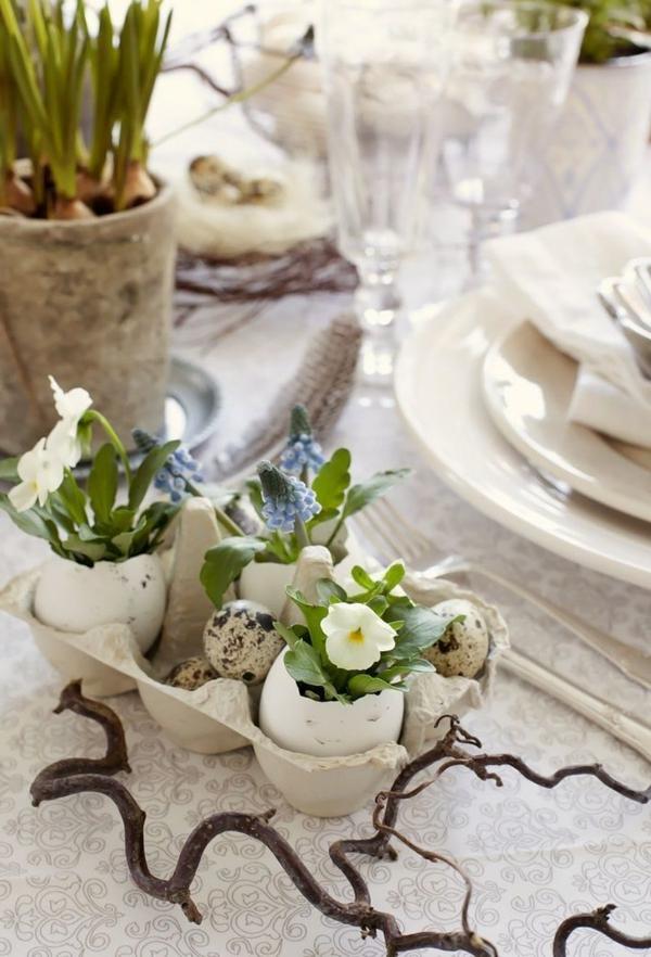tischdeko-zum-frühling-ideen-für-ostern-tischdekoration-blumen-in-eierschalen