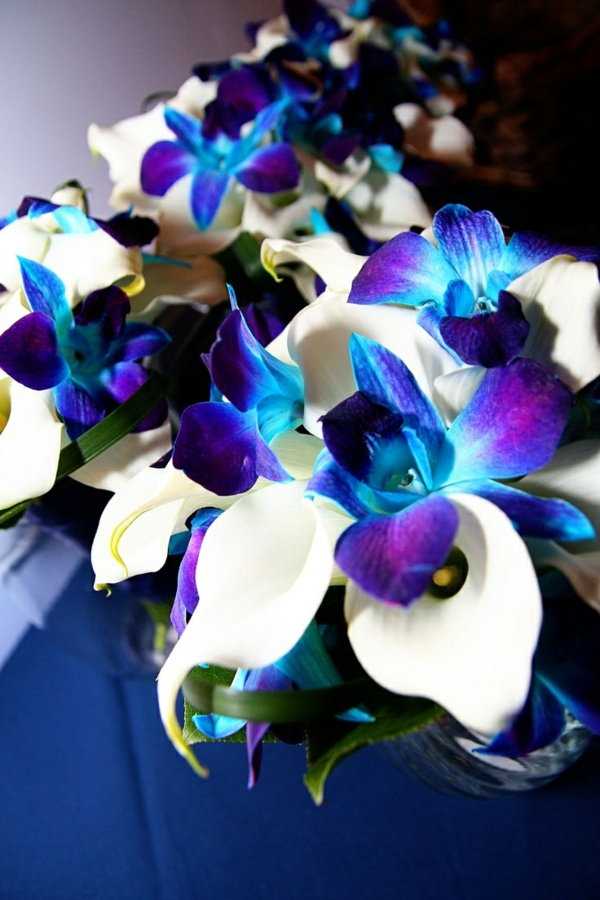 weiße-lilien-blaue-orchideen-hochzeitsdeko-hochzeitssträße-