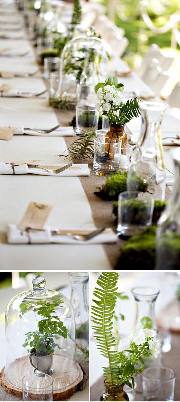 wunderbare-deko-ideen-für-den-tisch-mit-grünen-pflanzen-in-gläsern-auf-dem-tisch-gartenparty-design-ideen