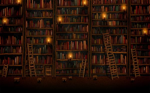 Fototapete-Bücherwand-mit-Treppen-im-Vorne-resized