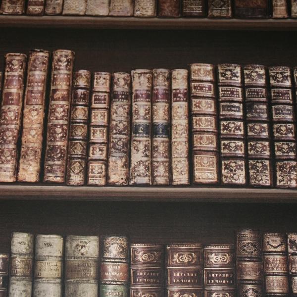 Fototapete-Bücherwand-mit-alten-Büchern-resized