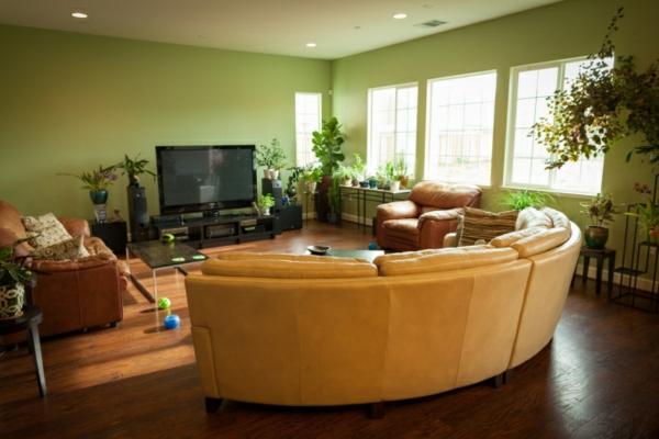 Wohnzimmer In Grün Und Braun