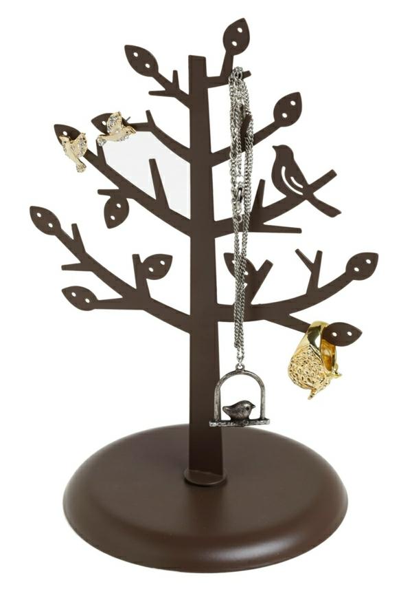 Ständer-Schmuck-Baum-braun-Laub-Vögel-Ring-Ohrringe-Halskette