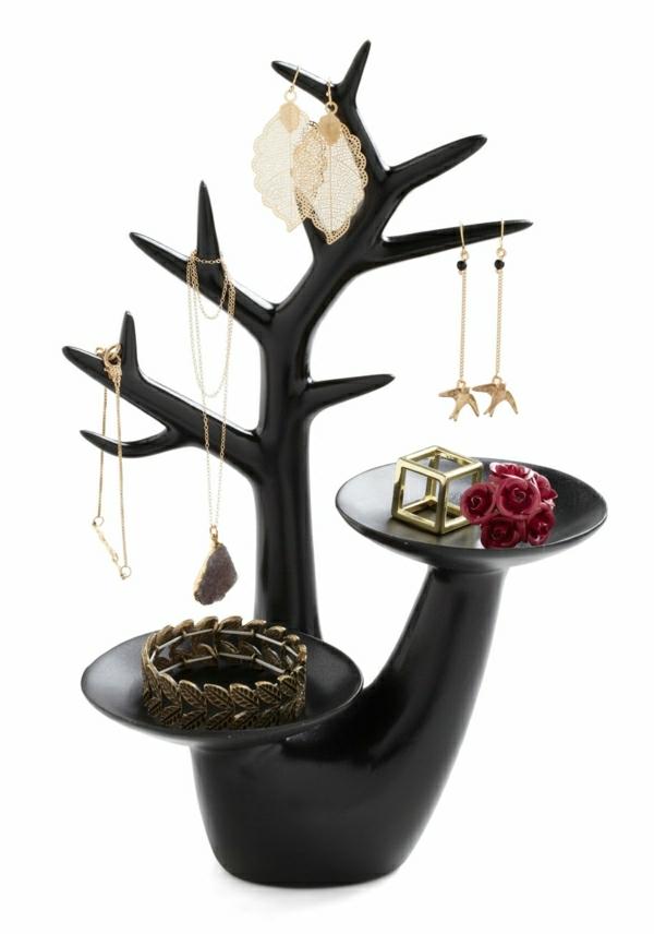 Schmuckständer-Geweih-schwarz-Ringe-Rosen-Ohrringe-Vögel-Laub-Halskette-Armreif