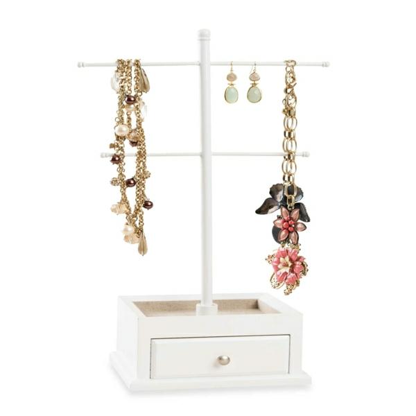 Schmuckständer-Holz-weiß-Schublade-Halsketten-Perlen-Blumen-Ohrringe