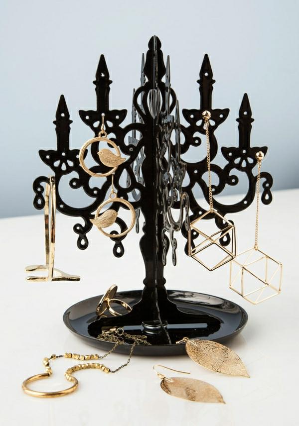 Schmuckständer-Kerzenhalter-schwarz-Kunststoff-Laub-Vogel-geometrische-Ohrringe-Halskette-Ringe