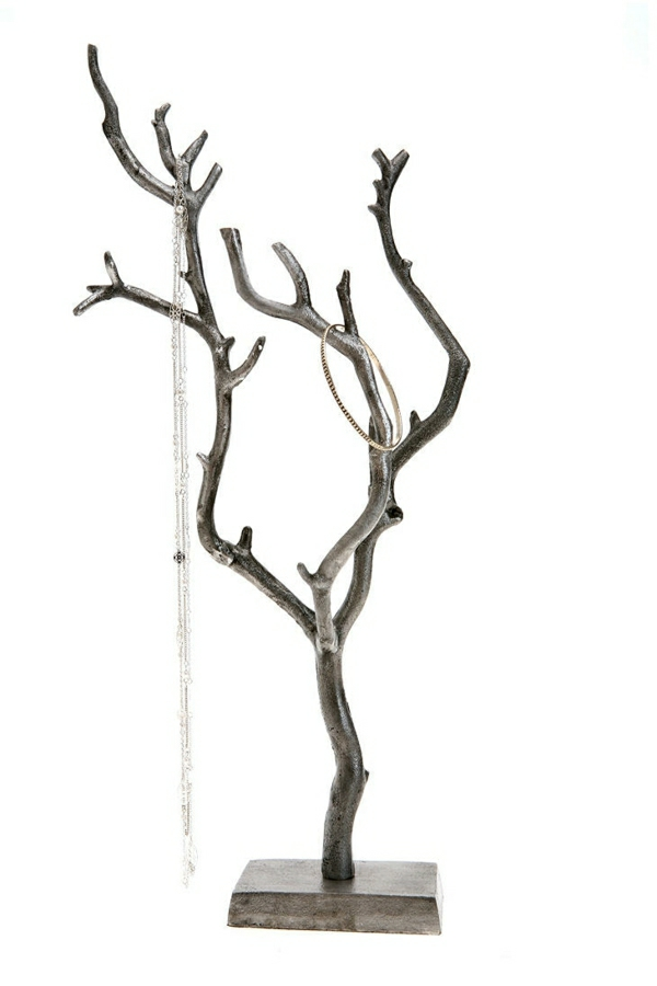 Ständer-Metall-Baum-Sockel-Armreif-silber-Halskette