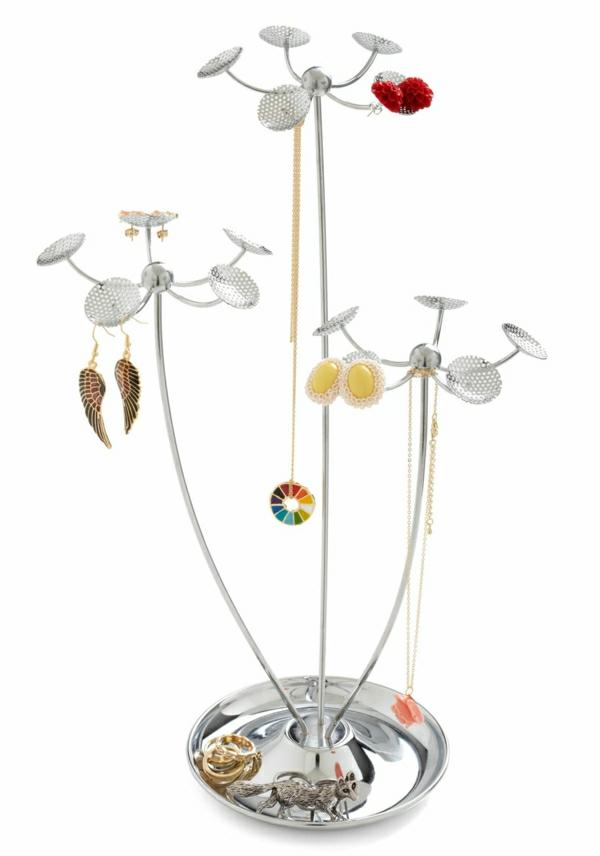 Schmuckständer-Metall-Blumen-Haken-Ohrringe-Halsketten