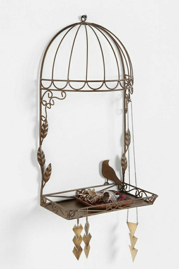 Ständer-Vogelkäfig-Metall-Vogel-Laub-Halskette-Ohrringe