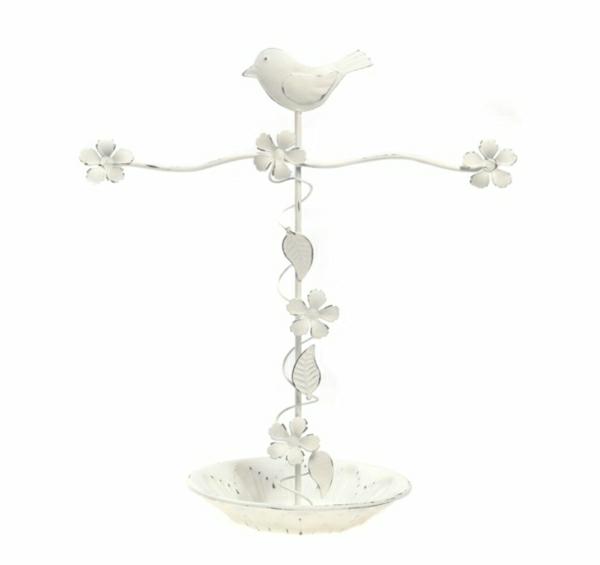 Ständer-Metall-weiß-Vogel-Blumen-Laub-Schüssel