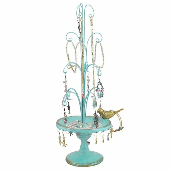 Ständer-Brunnen-mintgrün-goldener-Vogel-Ohrringe-Halsketten-Perlen-Haken