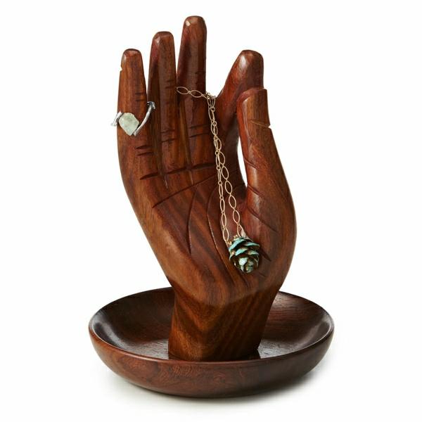 Ständer-Hand-Holz-Ring-Stein-Armreif-grüner-Zapfen-Afro-Stil
