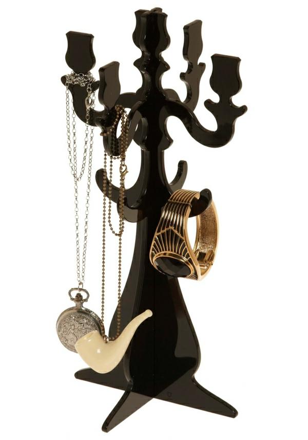 Schmuckständer-Kerzenhalter-schwarz-Halsketten-Pfeife-Armreif
