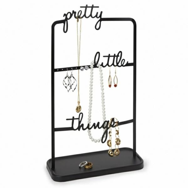 Ständer-Metall-schwarz-drei-Reihen-Anschriften-Ohrringe-Halsketten-Perlen-Kristallen-Armreif-Ringe