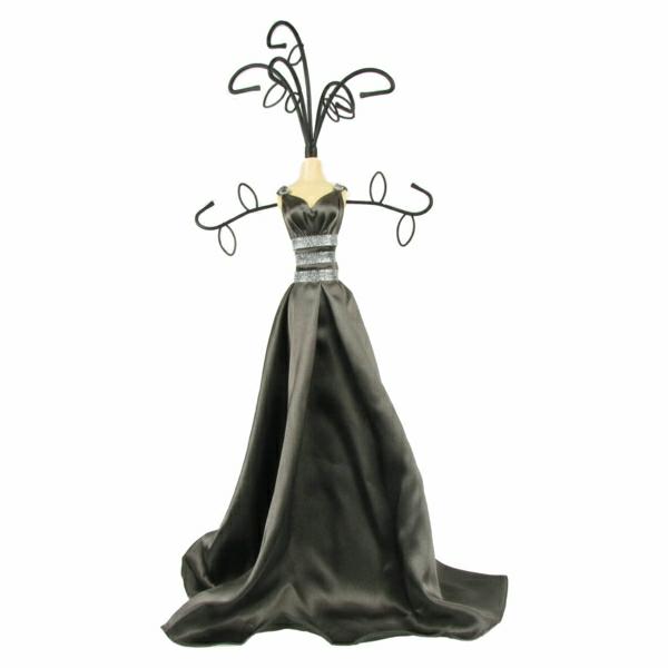 Schmuckständer-Schmuck-Frau-Figurine-schwarze-Robe-Gürtel-Haken
