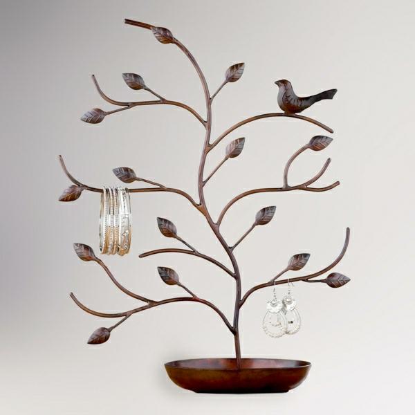 Schmuckständer-Holz-Baum-Ästen-Laub-Vogel-Armreife-Ohrringe-Holzsockel