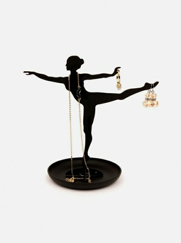 Schmuckständer-schwarz-Ballerina-Tänzerin-Sockel-Ring-Ohrringe-Kristalle-Halskette