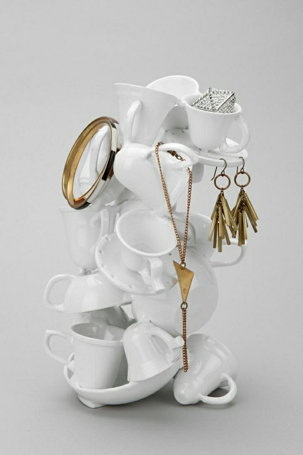 Ständer-Kaffeetassen-Halskette-Ohrringe-Ringe-Silber-Gold
