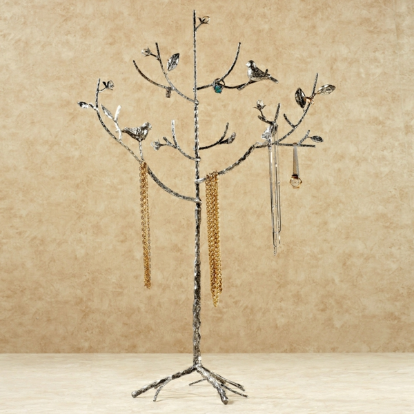 Ständer-silber-Vögel-Baum-Ästen-Schmuck-golden-Ketten
