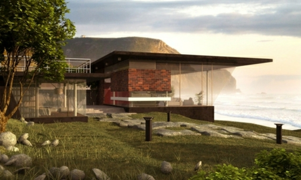 Strandhaus-Glas-Gras-Steine-Küste