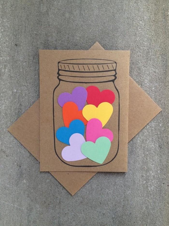 babykarte basteln dankeskarte basteln einmachglas mit herzenbunt geschenkkarte basteln karten selber machen klappkarte basteln