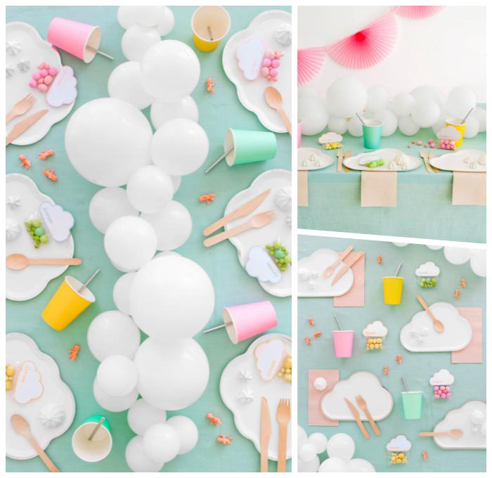 babyparty deko, tischläufer aus weißen ballons, tischdeko ideen, tisch dekorieren