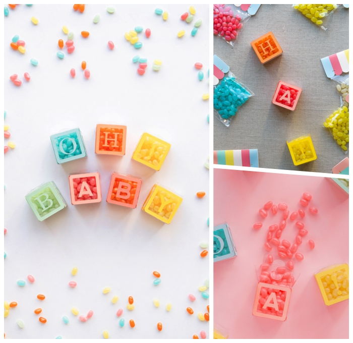 babyparty deko ideen, partydeko selber machen, würfel gefüllt mit bonbons, baby party