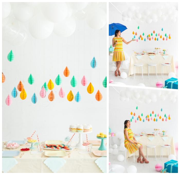 babyparty deko ideen, partydeko selber machen, weiße ballons, tropfen aus wabenbällchen