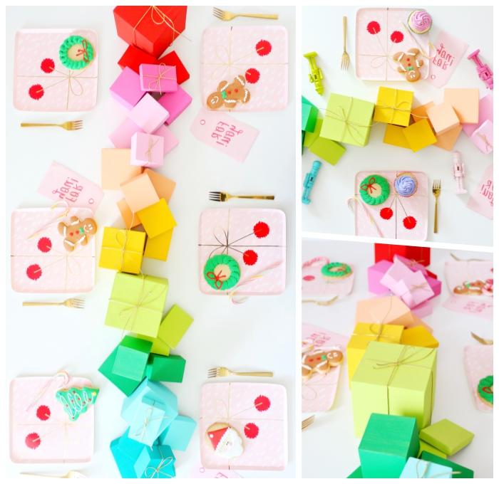 babyparty deko, tisch dekorieren, tischdeko in den regenbogenfarben, tischläufer aus geschenkboxen