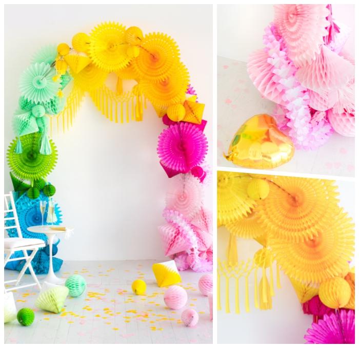 babyparty deko, partydeko selber machen, basteln mit papier, papierdeko in den regenbogenfarben