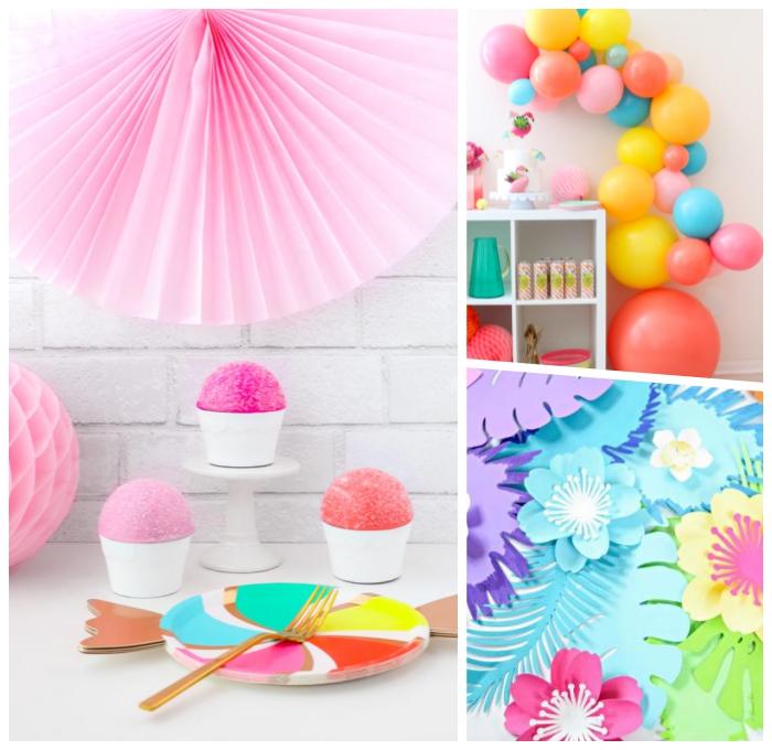 babyparty deko selber machen, große wanddeko aus papier, partydeko mit ballons