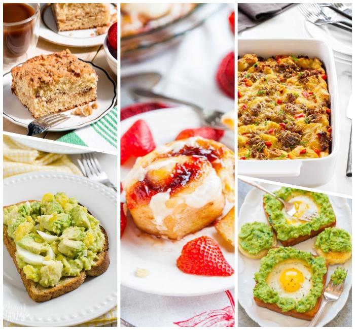 brunch ideen, schnelle frühstücksrezepte, brotscheiben mit avocado und eiern, vanille erdbeere schnecken