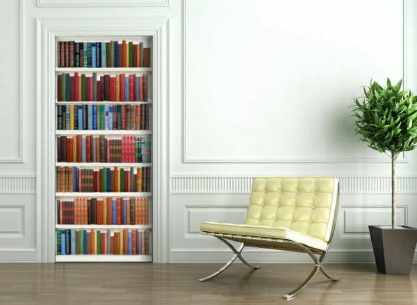 bunte-Fototapete-Bücherwand-und-gelber-Stuhl-resized-resized