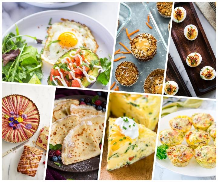 brunch ideen, schnelle frühstücksrezepte, avocadohälfte gefüllt mit tomaten salza, pfannkuchen mit vanille, muffins aus eiern