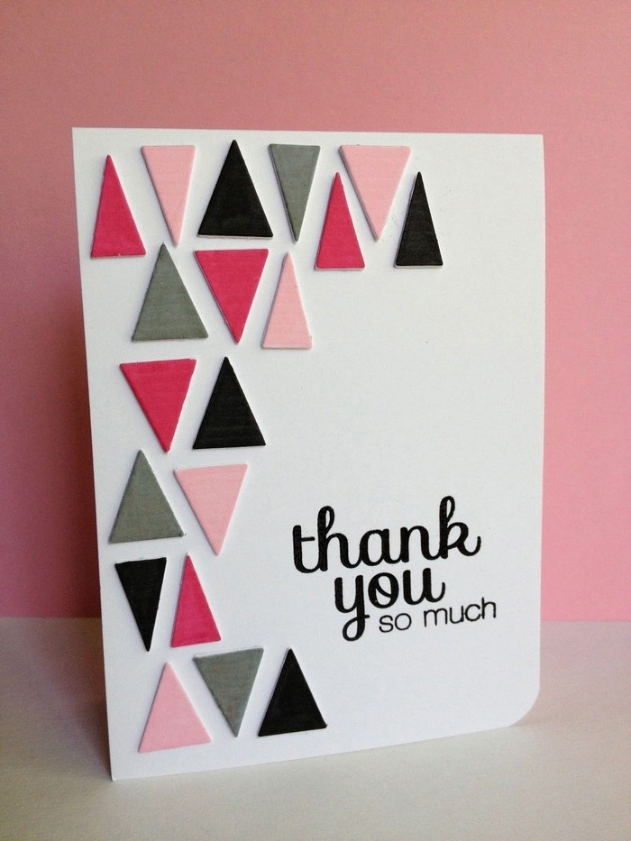 dankeskarte basteln babykarte basteln diy geburtstagskarte dreiecke aus filz pop up karte dankeskarte