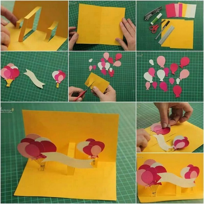 dankeskarte basteln geburtstagskarten selber machen vorlagen kostenlos schritt für schritt karte selebr machen gelb mit ballons